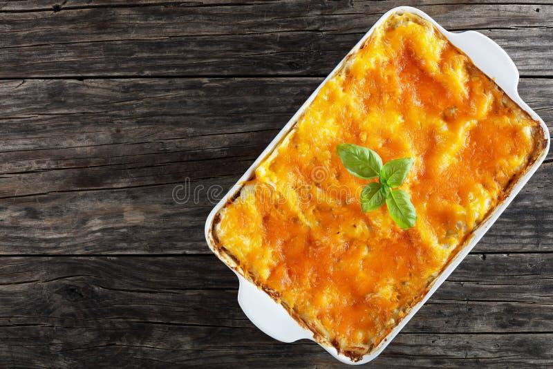 Geschmackvolle italienische Lasagne in der Backform lizenzfreie stockfotografie