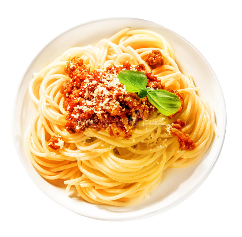Geschmackvolle italienische Spaghettis mit Rinderhackfleisch lizenzfreies stockbild