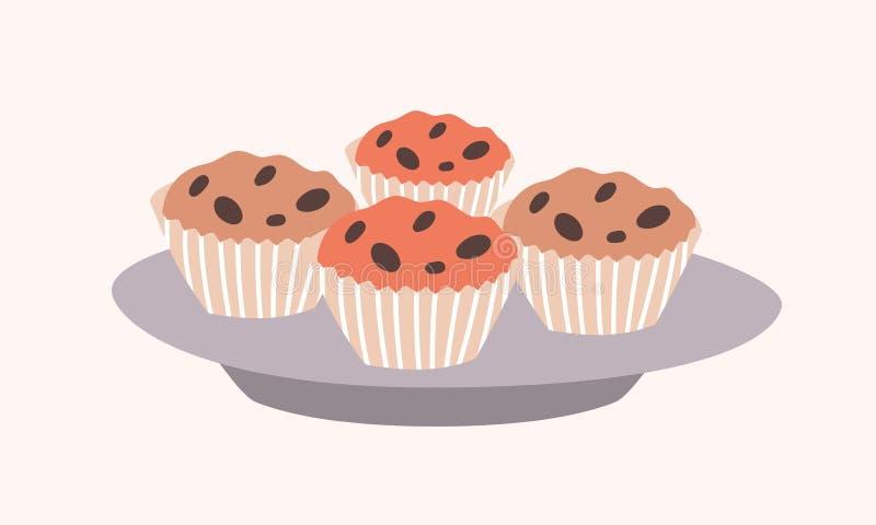 Geschmackvolle süße kleine Kuchen mit den Schokoladensplittern, die auf der Platte lokalisiert auf hellem Hintergrund liegen Köst vektor abbildung