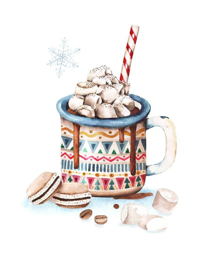 Geschmackvolle Schale der heißen Schokolade mit Eibisch-, Roter und Blauerverzierung Weihnachtsaquarell-Grußkartengestaltungselem stock abbildung