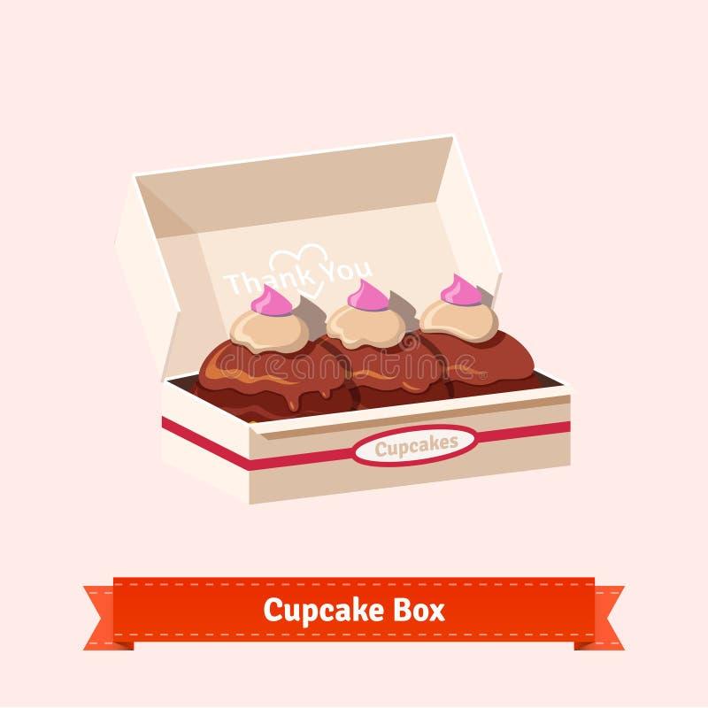 Geschmackvolle schauende kleine Kuchen im cardbox vektor abbildung