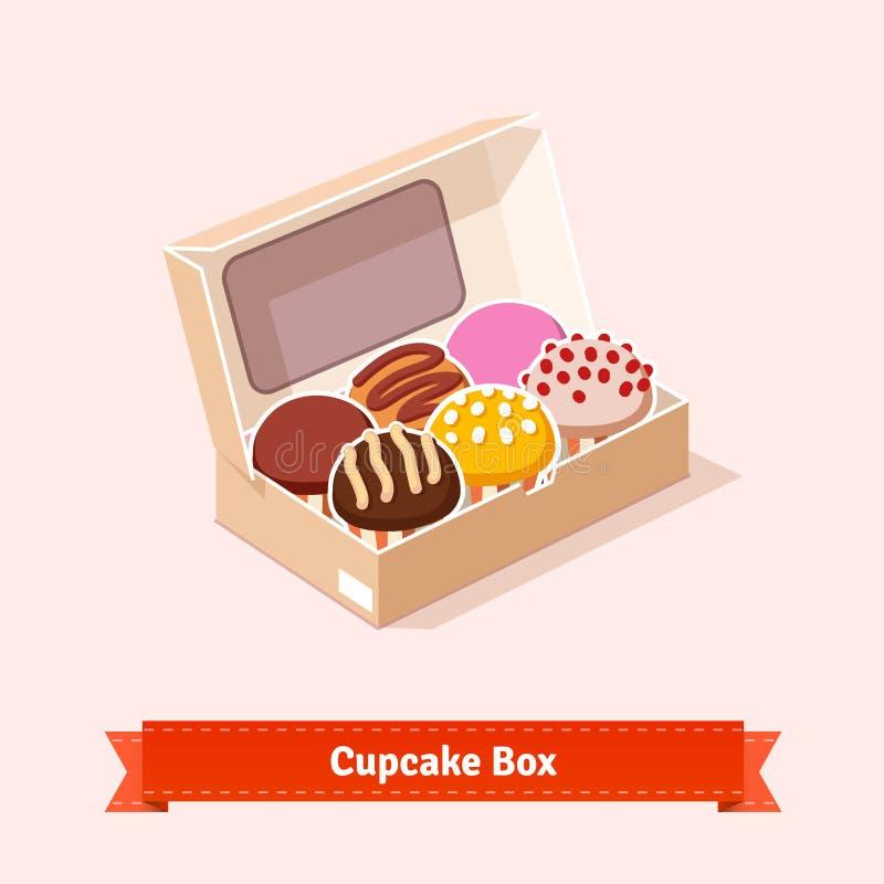 Geschmackvolle schauende kleine Kuchen im cardbox lizenzfreie abbildung