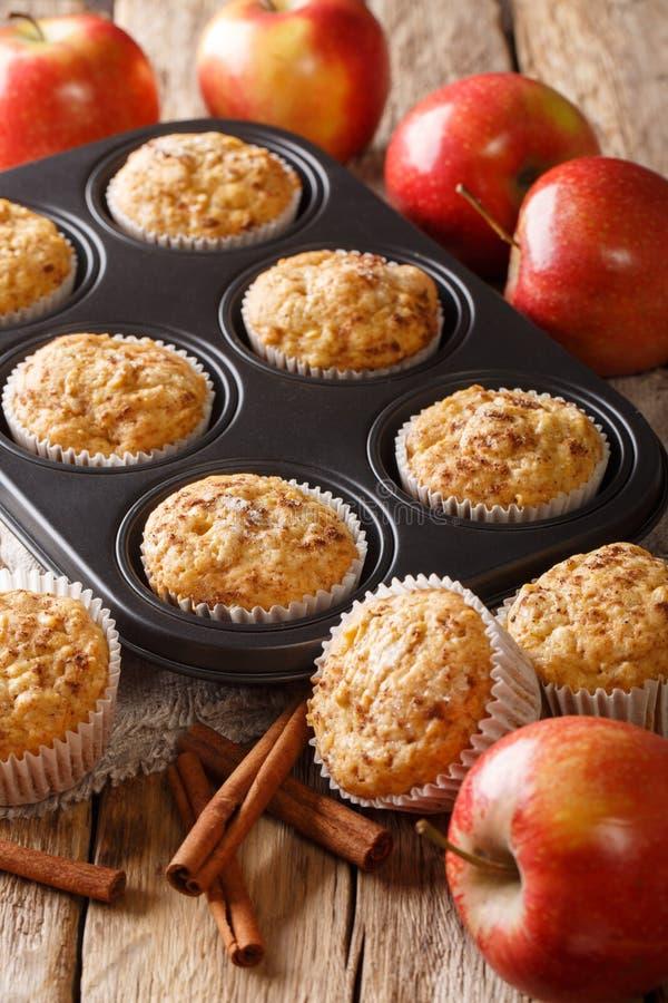 Geschmackvolle selbst gemachte Apfelmuffins mit Zimtnahaufnahme in einer Backform vertikal stockfotos