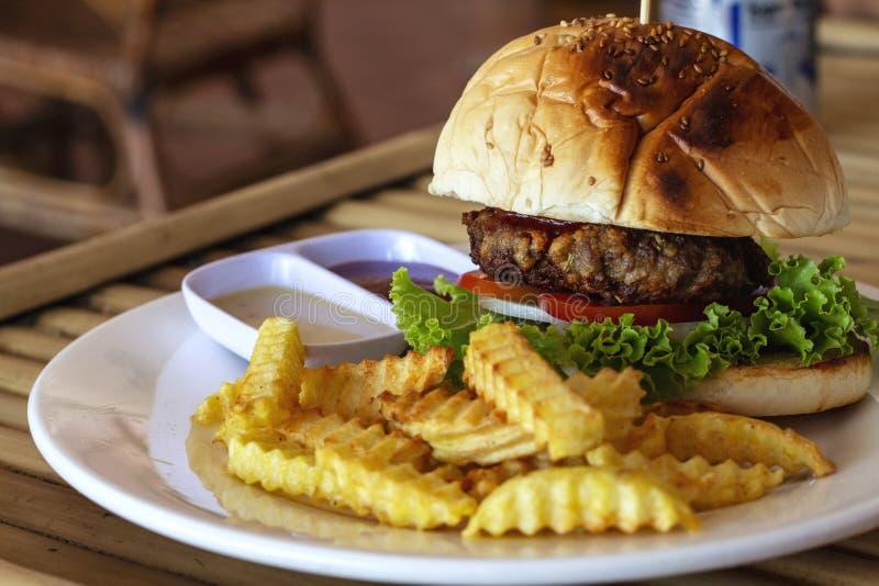 Geschmackvoller frischer Burger und Pommes-Frites auf weißer Platte dienten für das Mittagessen Leckeres Kinderlebensmittelmenü-N lizenzfreies stockbild
