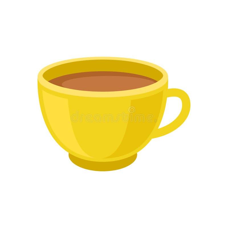 Geschmackvoller frischer Tee oder Kakao in der gelben Schale Becher Kaffee Heißes Morgengetränk Köstliches Getränk Flaches Vektor lizenzfreie abbildung