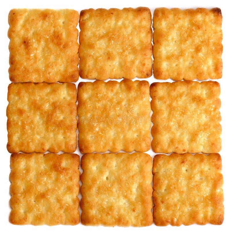 Geschmackvoller Hintergrund von vielen Crackern lizenzfreies stockbild