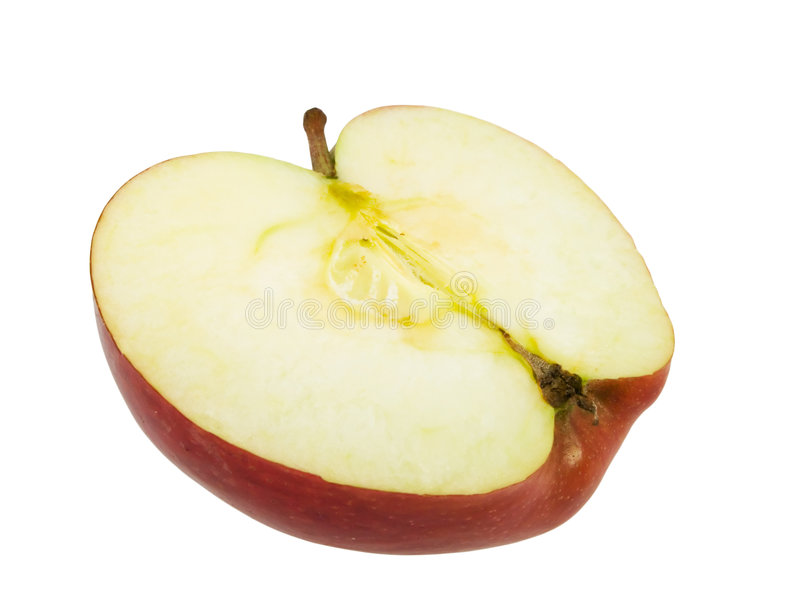 Geschmackvoller roter Apfel beinahe eingeschnitten lizenzfreie stockfotografie