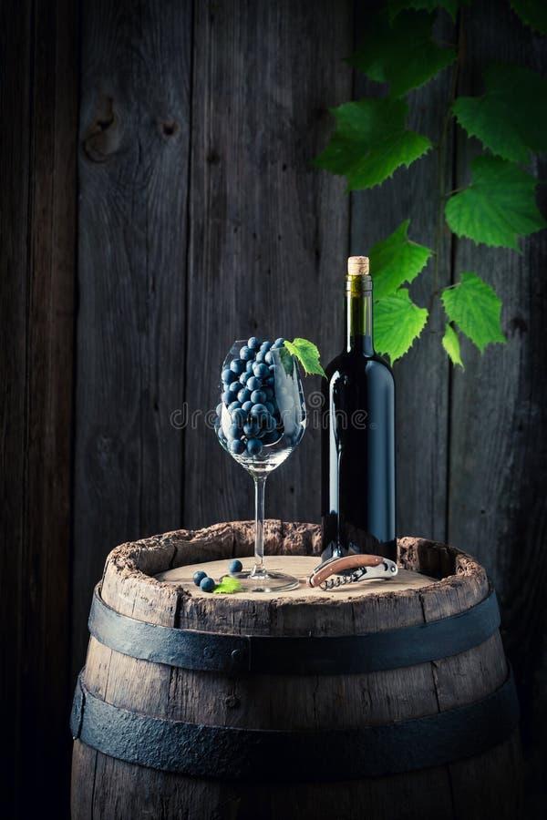 Geschmackvoller Rotwein und frische Trauben auf altem Fass stockfotografie