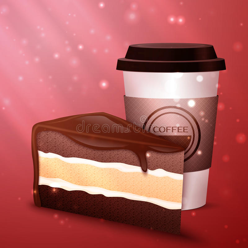 Geschmackvoller Schokoladenkuchen und -Tasse Kaffee lizenzfreie abbildung