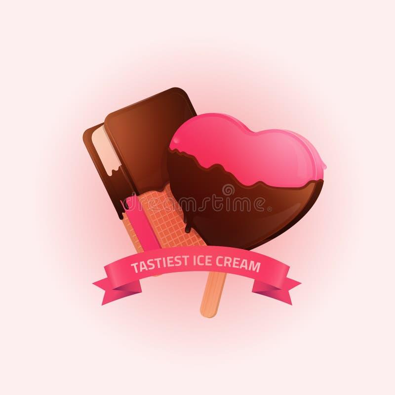 Geschmackvolles Eiscremeplakat/Fahnenillustration stock abbildung