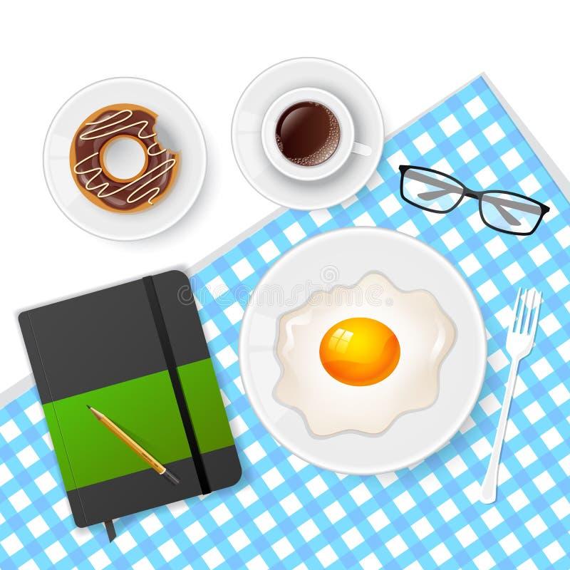 Geschmackvolles Frühstück mit Kaffee und Eiern vektor abbildung