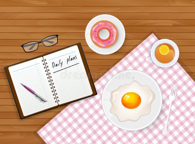 Geschmackvolles Frühstück mit Tee und Ei lizenzfreie abbildung
