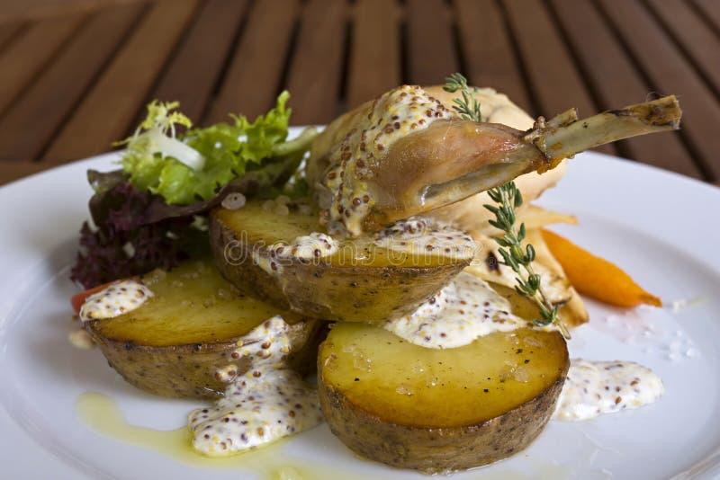 Geschmackvolles Kaninchen- oder Huhnfleisch mit Gemüse lizenzfreie stockfotografie