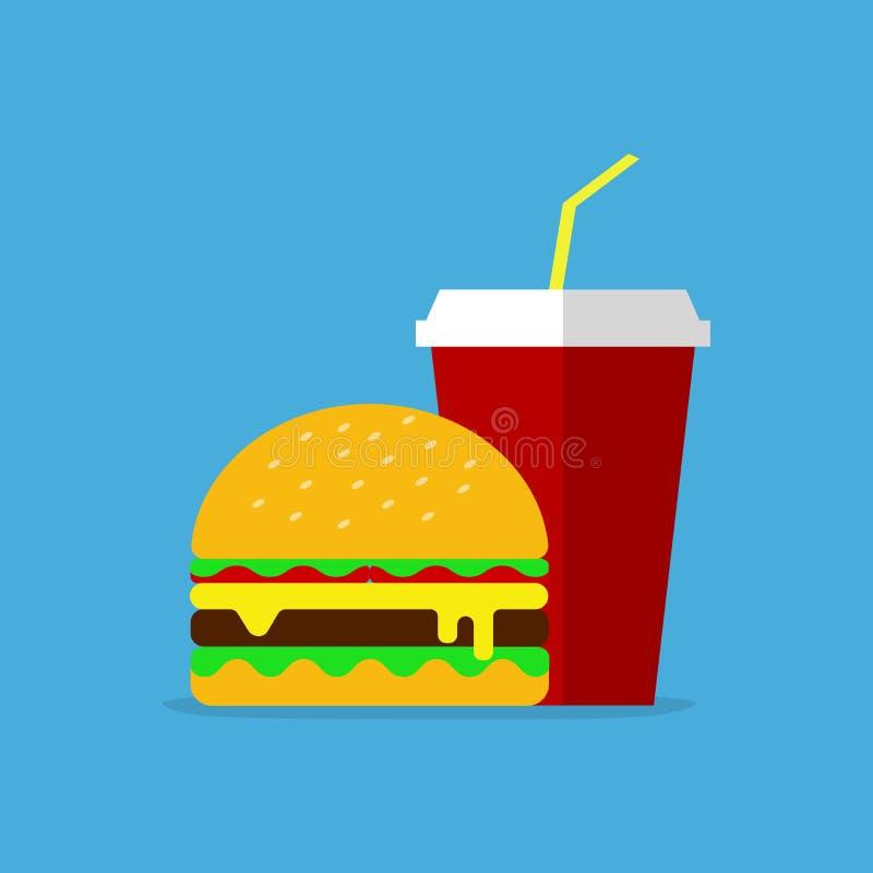 Geschmackvolles Schnellimbissmenü Hamburger mit Kolabaum auf blauem Hintergrund Vektor eps10 lizenzfreie abbildung