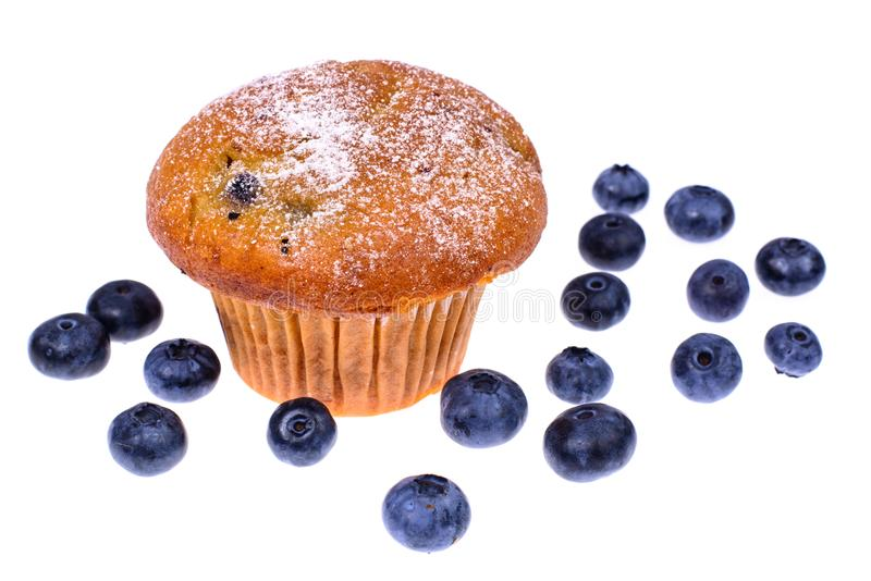Geschmackvolles weiches Muffin mit Blaubeere auf weißem Hintergrund lizenzfreie stockfotos