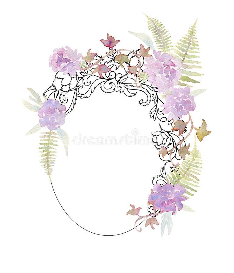 Geschmiedeter Rahmen mit mit rosa Rosen, Pfingstrosen, Farn und Efeu Barocke Verzierung der Weinlese und romantische Gartenblumen lizenzfreie abbildung