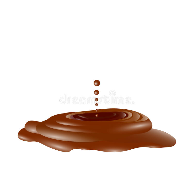 Geschmolzene braun Schokolade, Flüssigkeit in 3d, Vektor lizenzfreie abbildung