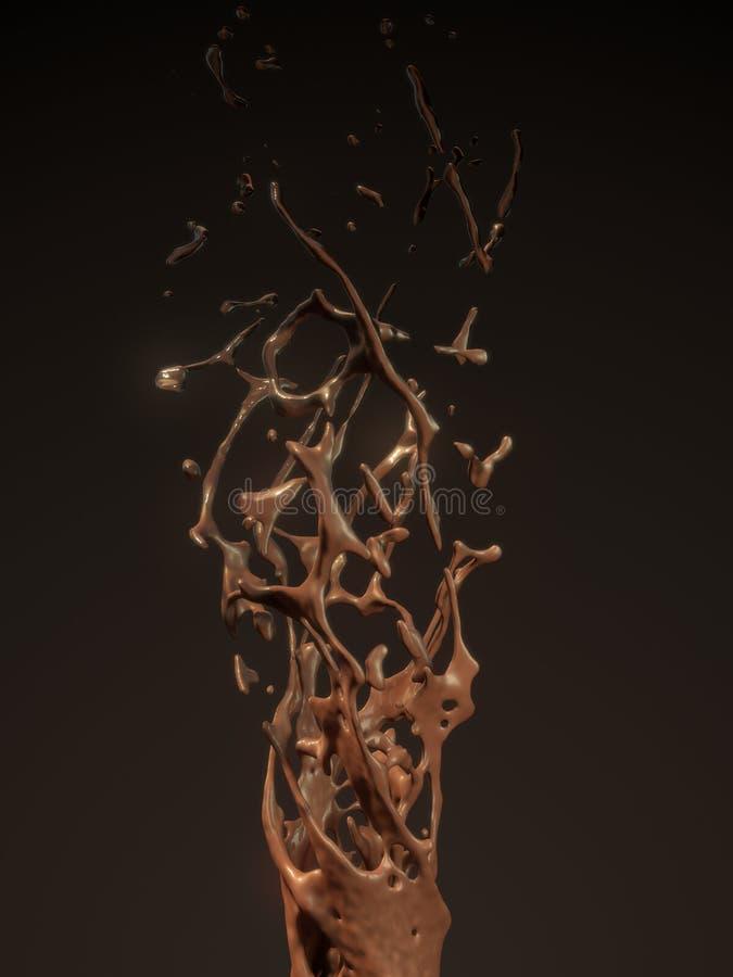 Geschmolzener Schokoladensirup, der auf einen dunklen Hintergrund schwimmt Wiedergabe 3d stock abbildung