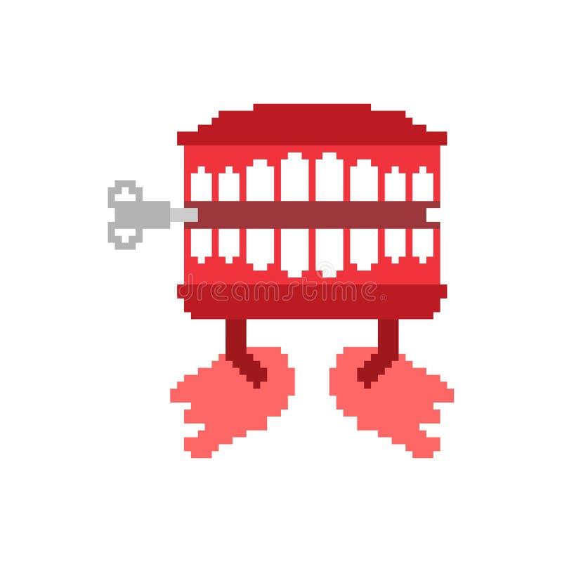 Geschnatterzahnspielzeug-Pixelkunst April Fools Day-Symbol 8 Bit Kiefer t stock abbildung