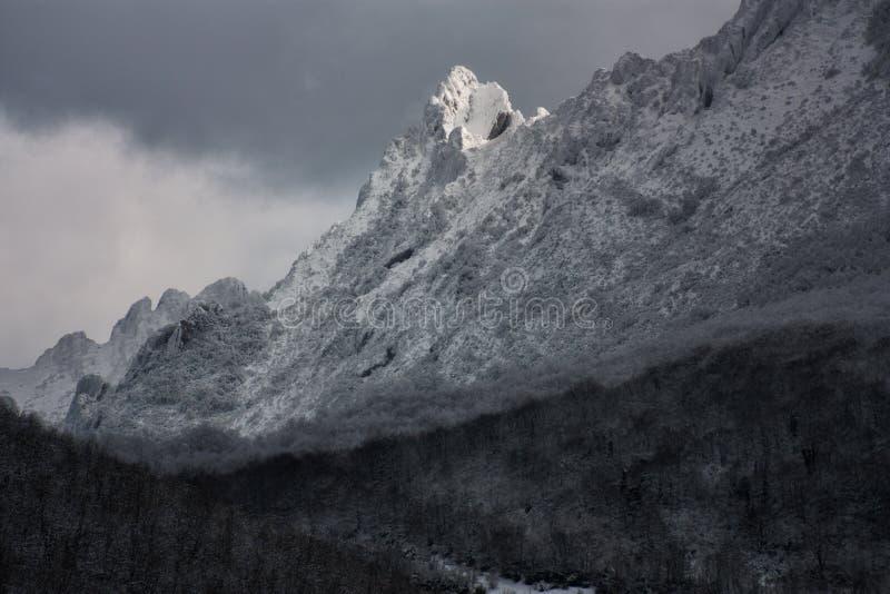 Geschneite Berge stockbild