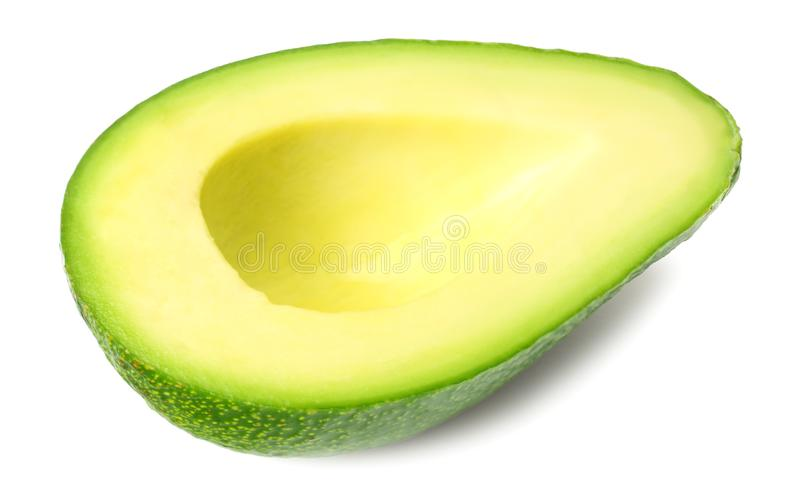 Geschnittene Avocado lokalisiert auf einem wei?en Hintergrund stockfoto