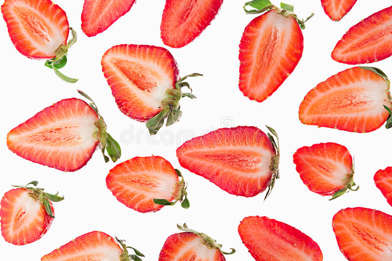 Geschnittene Erdbeere Scheiben Erdbeere nahtlos Makro Beschaffenheit stockfotografie