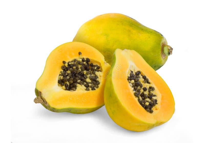 Geschnittene geöffnete Papayafrucht lizenzfreies stockbild