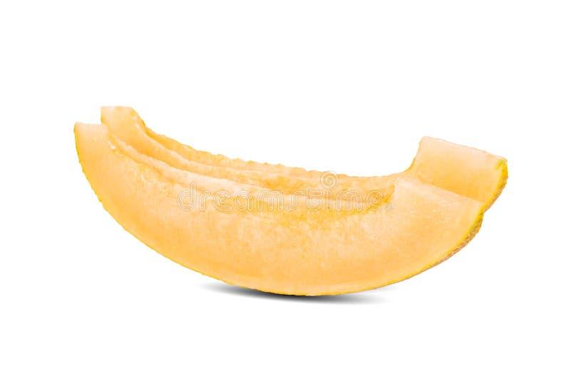 Geschnittene Honigmelone im weißen Hintergrund lizenzfreie stockbilder