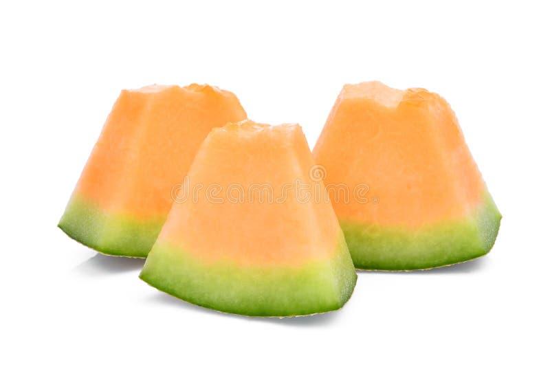 Geschnittene japanische Melonen, orange Melonen- oder Kantalupenmelonenisolat lizenzfreie stockfotos