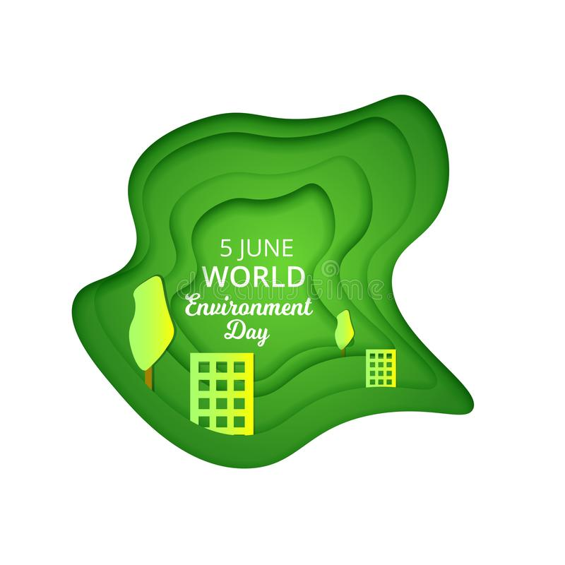 Geschnittene Karikaturpapiernatur mit Bäumen, realistische modische Handwerksart Modernes Origamidesign Weltumwelttagkonzept Gruß lizenzfreie abbildung