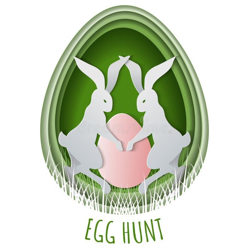 Geschnittene Konzept Ostereipapierjagd mit dem Häschen und Eiern versteckt im Gras Schablone für Ostern-Postkarte vektor abbildung