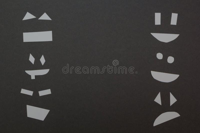 Geschnittene Papiergesichtsränder des Rahmens auf einem grauen Hintergrund vektor abbildung