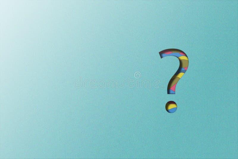 Geschnittene Papierillustration des Fragezeichens auf blauem Hintergrund des körnigen Effektes lizenzfreie stockbilder