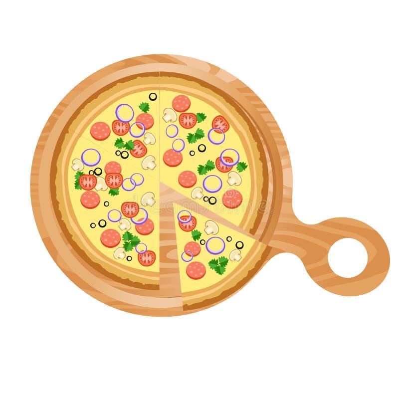 Geschnittene Pizza auf einem hölzernen Stand stock abbildung