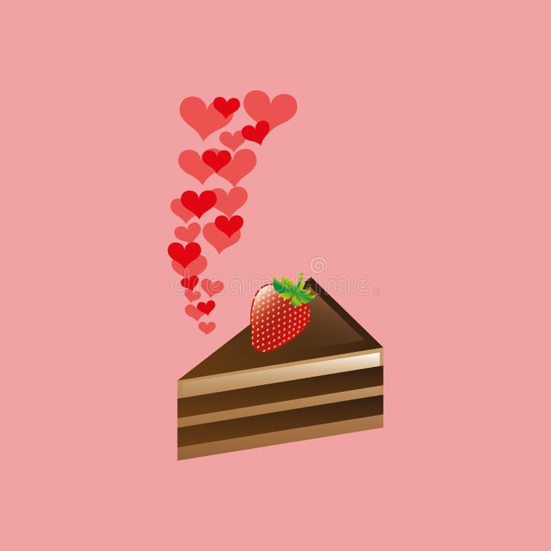 geschnittene Schokoladen- und Erdbeerikone der Herzkarikatur entwerfen Kuchen stock abbildung
