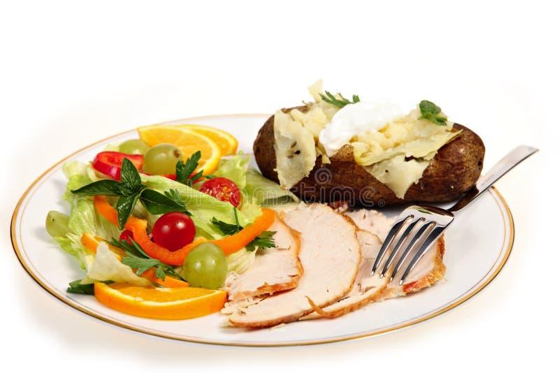 Geschnittene Seitenansicht der Truthahn- und Salatmahlzeit lizenzfreies stockfoto