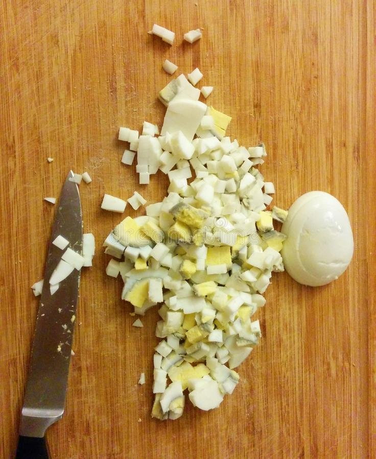 Geschnittene und gehackte Eier stockbild