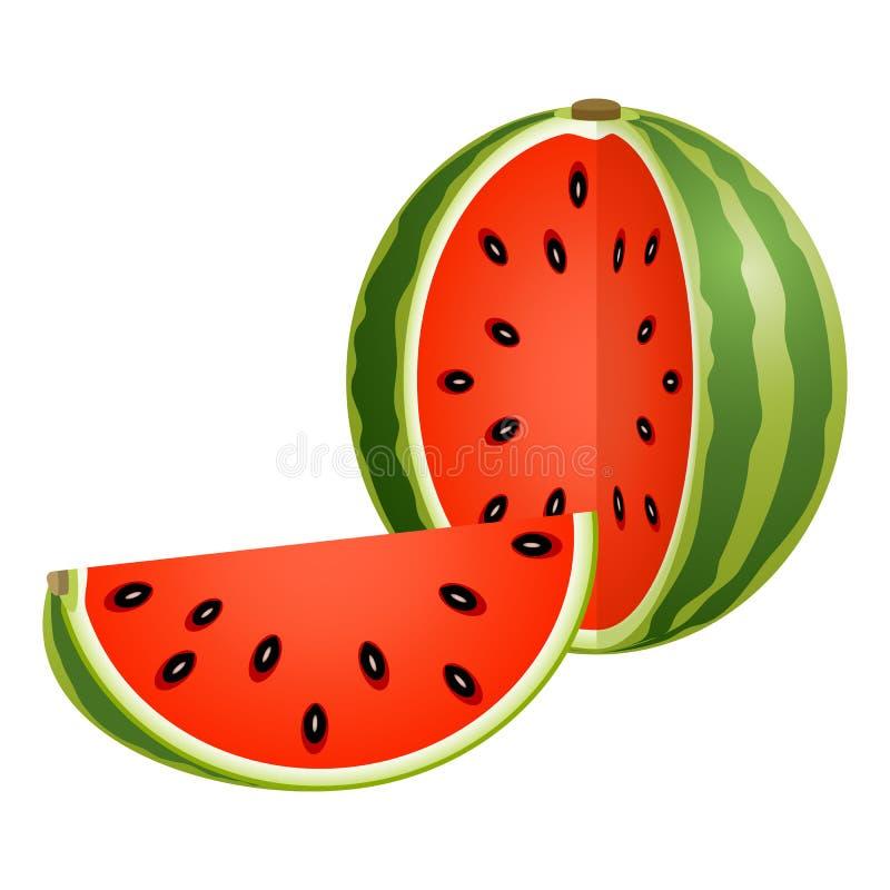 Geschnittene Wassermelone lokalisiert auf Weiß stock abbildung