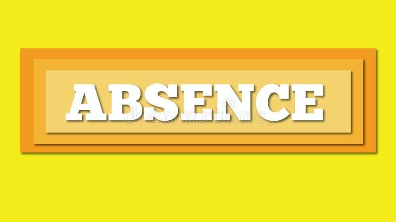 Geschnittene Wortpapierabwesenheit im gelben Hintergrund stock abbildung