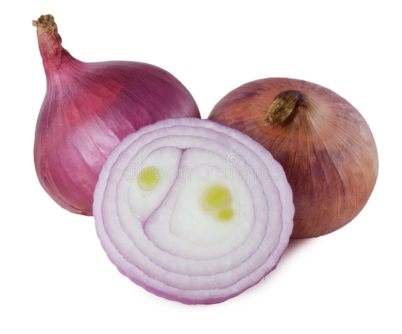 Geschnittene Zwiebel auf weißem Hintergrund lizenzfreies stockbild