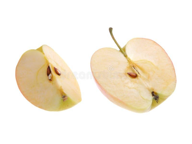 Geschnittener Apfel auf weißem Hintergrund Lokalisiert auf Weiß stockbilder