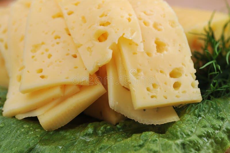 Geschnittener gelber Käse owith Kopfsalat stockbild