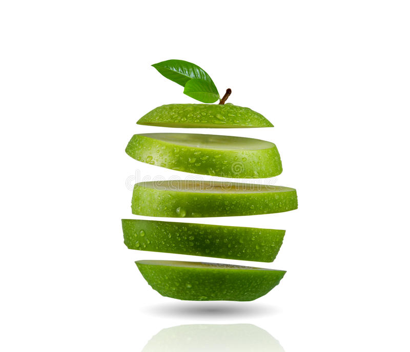 Geschnittener grüner Apfel stockfotografie