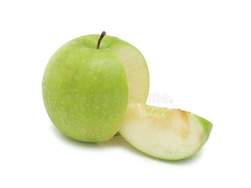 Geschnittener grüner Apfel, getrennt stockfotografie
