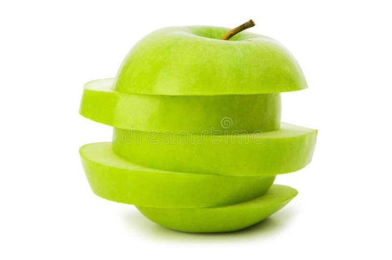 Geschnittener grüner Apfel getrennt lizenzfreies stockfoto