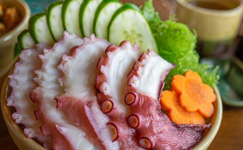 Geschnittener Krakensashimi, Nahrung der japanischen Art stockfoto