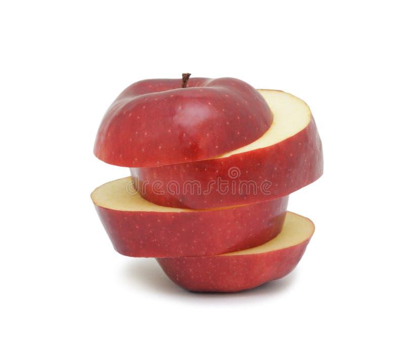 Geschnittener reifer roter Apfel, getrennt lizenzfreie stockfotos