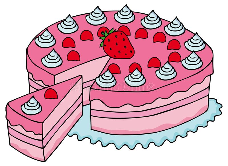 Geschnittener rosa Kuchen stock abbildung
