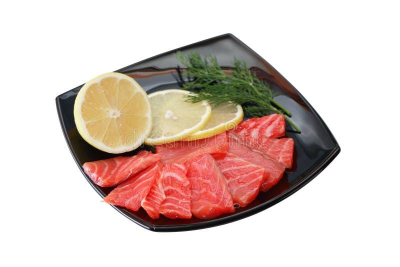 Geschnittener Salmon On Plate stockfotos