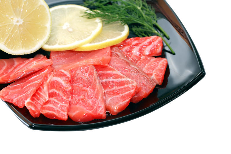Geschnittener Salmon On Plate lizenzfreies stockfoto